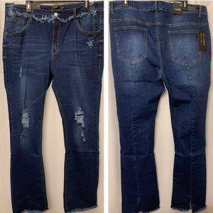 L&B 20 Split hem bootcut jeans dark wash PLUS